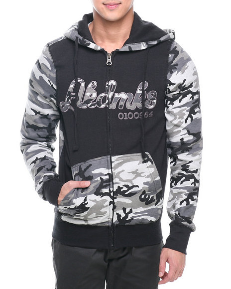 Akademiks - Men Black Stealth All Over Fleece Zip Hoody
