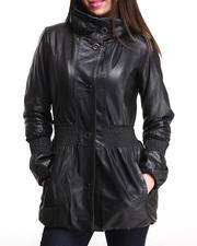 DRJ Leather Shoppe - Genuine Leather Puff Coat w/ Cinched Sleeves & Waist