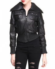 DRJ Leather Shoppe - New Zealand Lamb Skin Smocked Jacket