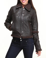 DRJ Leather Shoppe - Sherpa Lined New Zealand Lamb Skin Snap-Button Jacket