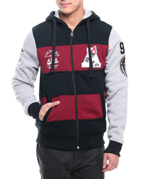 Akademiks - Men Black Rec Room Chenille Patch Full Zip Fleece Hoody
