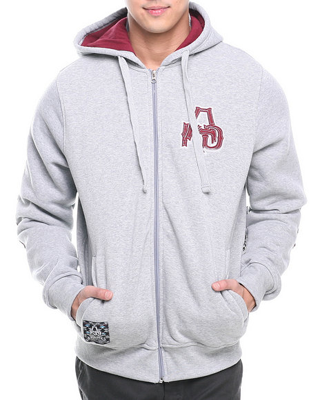 Akademiks Grey Apache Full Zip Fleece Hoody