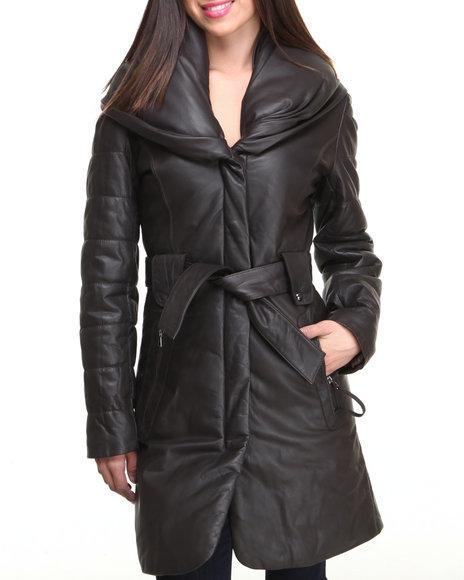 Drj Leather Shoppe - Women Brown Long Genuine Leather Puff Collar Coat W/ Belt