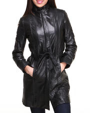 DRJ Leather Shoppe - Long Genuine Leather Coat w/ Crunch Collar & Belt