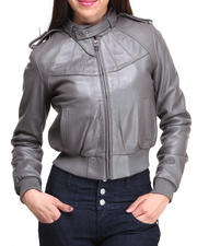 DRJ Leather Shoppe - Leather Bomber Jacket w/ Adjustable Neck Closure