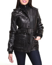 DRJ Leather Shoppe - Lamb Skin Leather Utility Coat w/ Detachable Hood