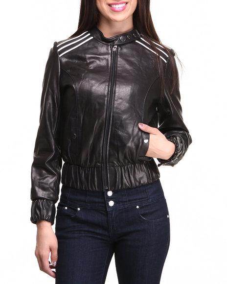 Drj Leather Shoppe - Women Black Lamb Skin Leather Racing Jacket - $70.99