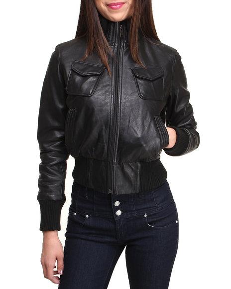 Drj Leather Shoppe - Women Black Leather Cinched Waist Bomber Jacket