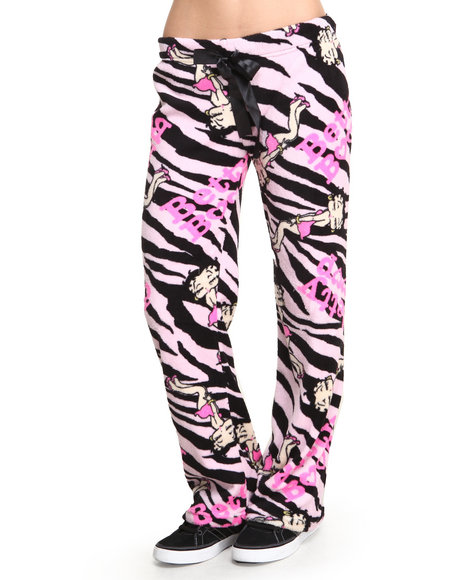 Graphix Gallery - Women Pink Animal Printed Betty Boop Plush Pant