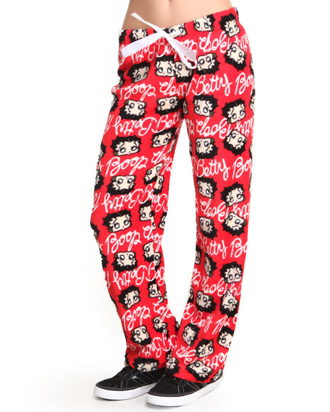 Graphix Gallery - Women Red Betty Boop Plush Printed Pants