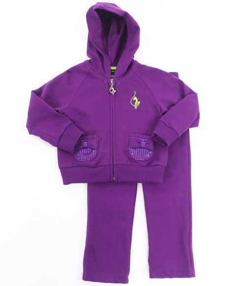 Baby Phat - Girls Purple 2 Pc French Terry Set (2T-4T)