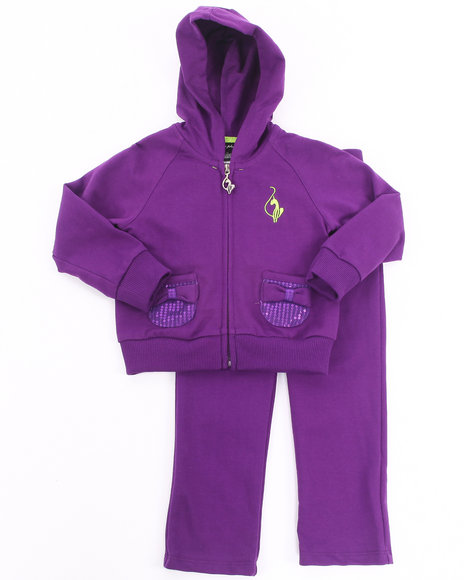 Baby Phat - Girls Purple 2 Pc French Terry Set (4-6X)