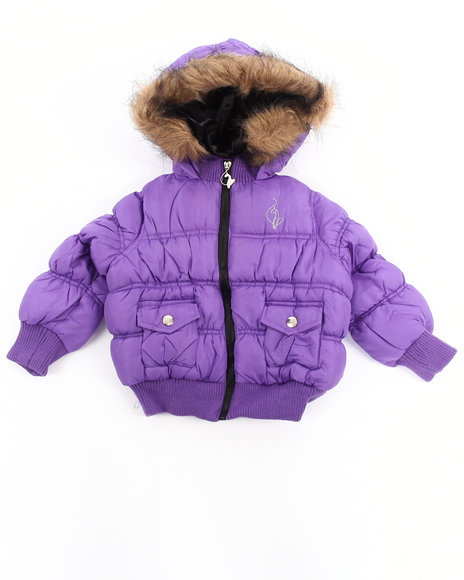 Baby Phat - Girls Purple Ruched Bomber Jacket (Infant)