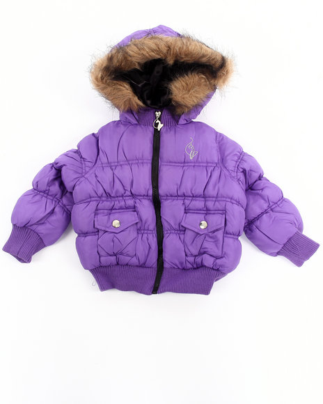 Baby Phat - Girls Purple Ruched Bomber Jacket (2T-4T)