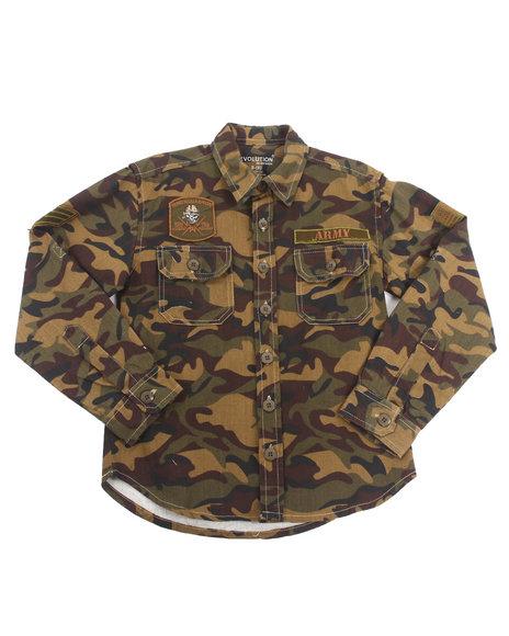 Arcade Styles - Boys Camo,Olive Camo Battalion Shirt Jacket (8-20)
