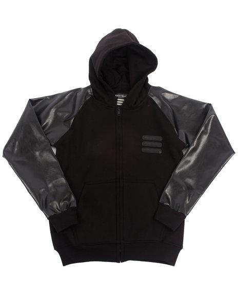 Arcade Styles - Boys Black Hoodie W/ Faux Leather Sleeves (8-20)