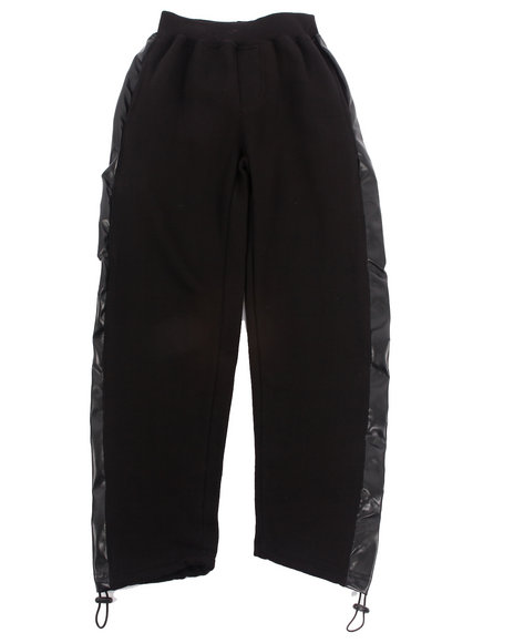 Arcade Styles - Boys Black Sweatpants W/ Faux Leather Trim (8-20)