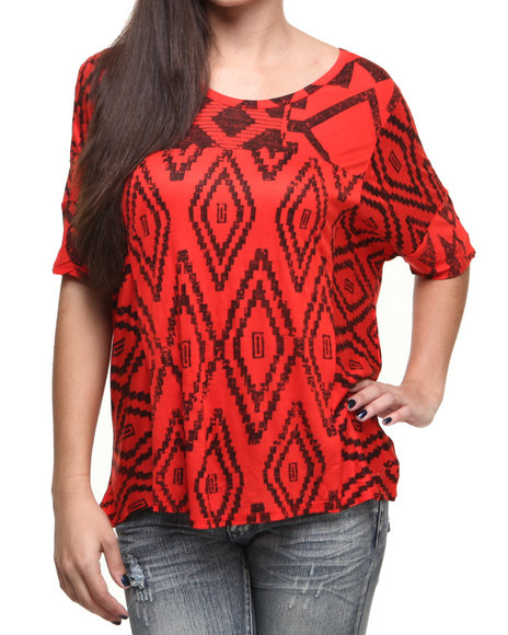 Seven7 Jeans - Women Red Seven Aztec Print Fashion Top