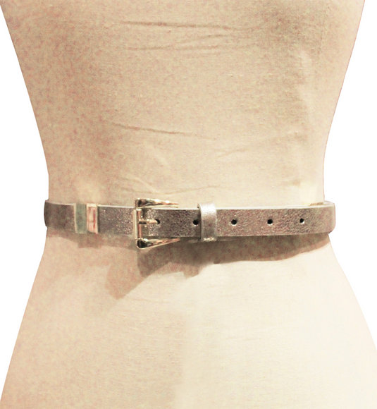 Kensie - Women Silver Vegan Leather Metallic/Stripe Reversible Belt