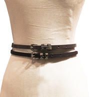 KENSIE - Vegan Leather Metallic/Solid 2-Pack Thin Belt