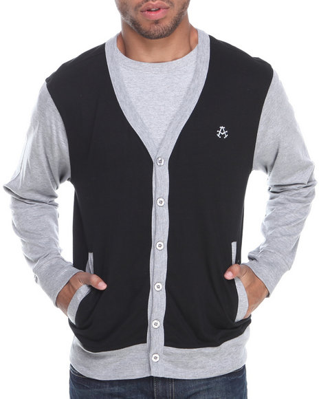 Akademiks - Men Black,Grey Thad Jersey Cardigan - $19.99