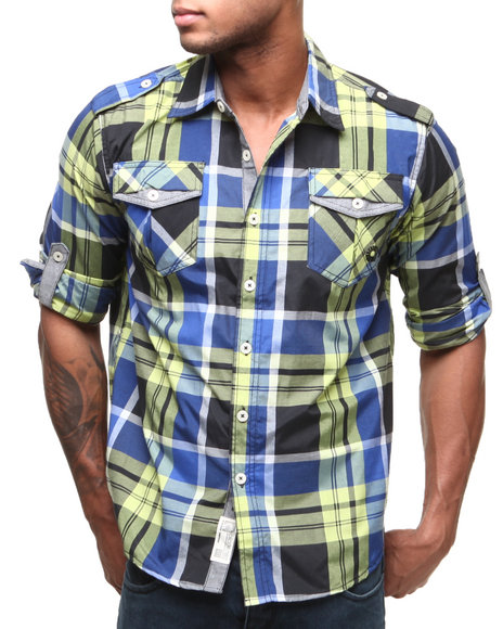 Akademiks - Men Black Hannibal Plaid L/S Button Down Shirt