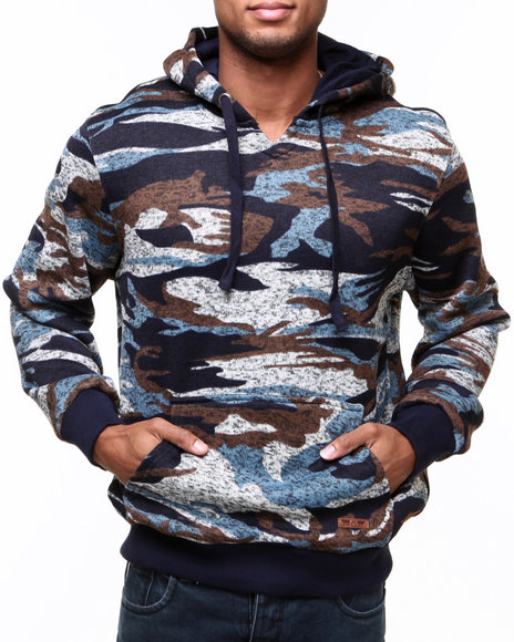 MO7 Blue Camo Knit Pullover Hoodie