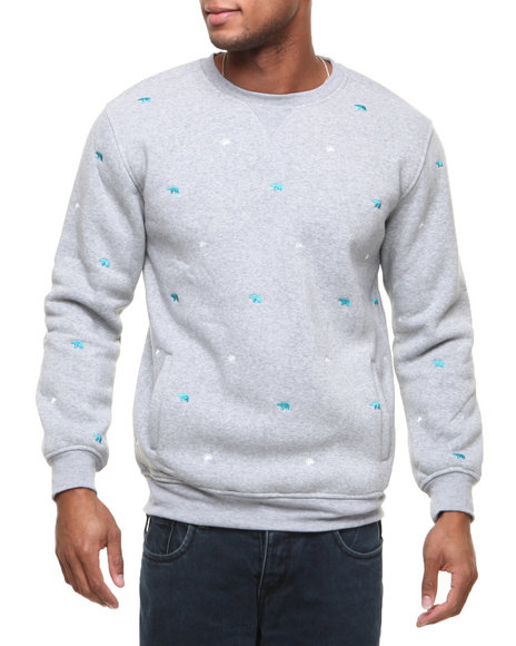 Buyers Picks - Men Grey Bear Paw All-Over Embroidery Crewneck Sweat Shirt (Elbow Patch Detail)
