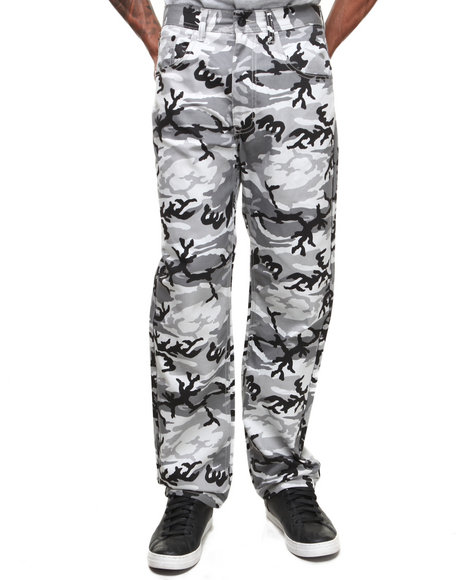 Akademiks - Men Black Dropzone Twill 5 Pocket Camo Pants