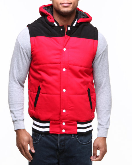 Buyers Picks - Men Red Zip Off Hood Padded Bubble Vest