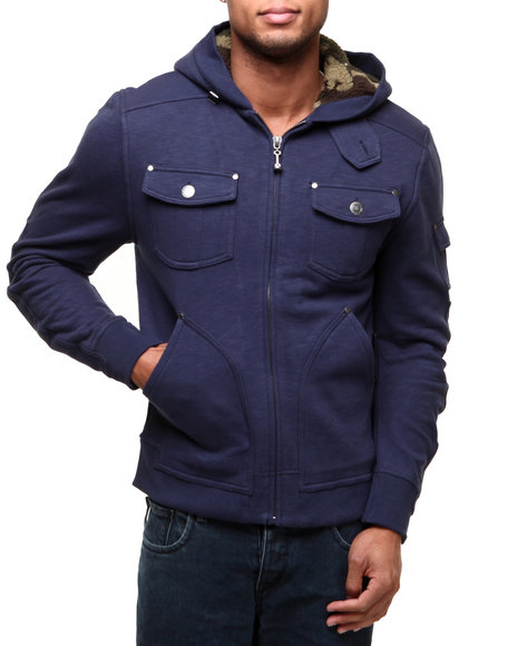 Darring Navy Admiral Camo Sherpa Lined Hoodie