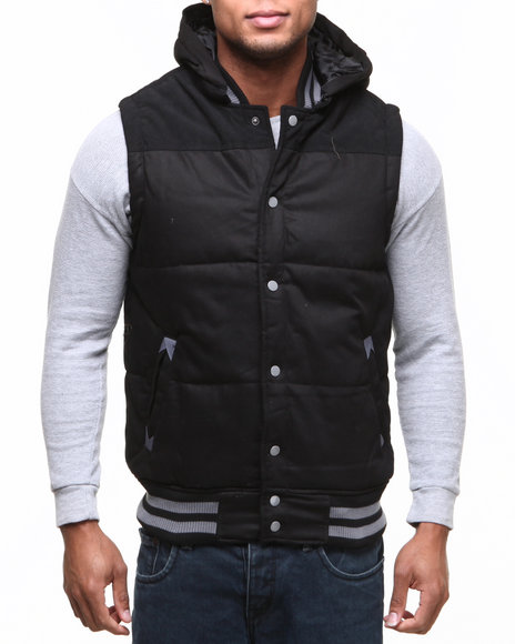 Buyers Picks - Men Black Zip Off Hood Padded Bubble Vest