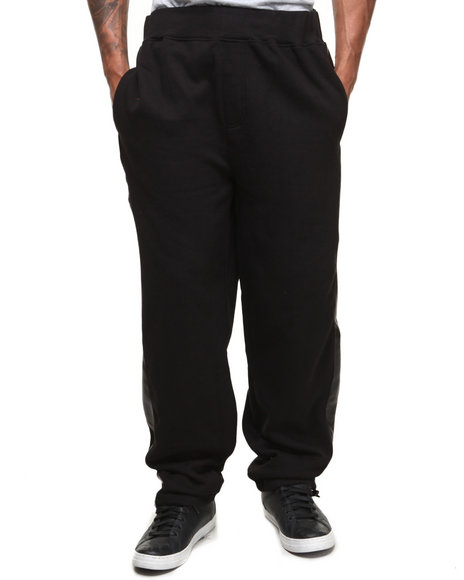 Basic Essentials - Men Black Vegan Leather Side Stripe Sweatpants