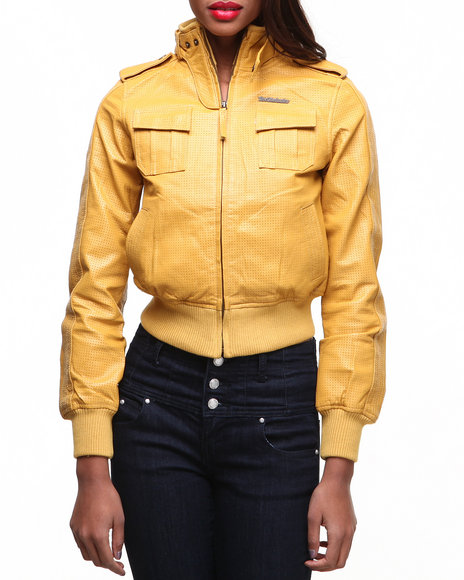 Live Mechanics Gold Leather Jacket