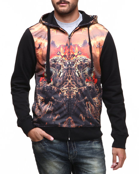 Akademiks - Men Black Tigerz Sublimation Full Zip Hoody