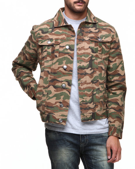 Darring - Men Camo Cobra Camouflage Trucker Jacket
