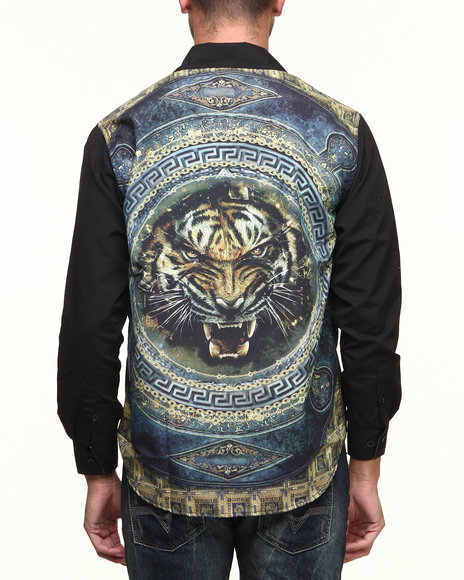 Akademiks Black Vintage Tigerz Sublimation L/S Button Down Shirt