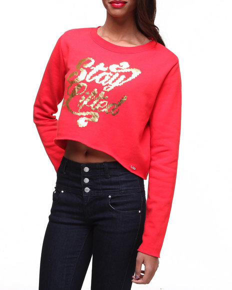 Lrg - Women Red Metric Pullover Crew Neck Sweatshirt