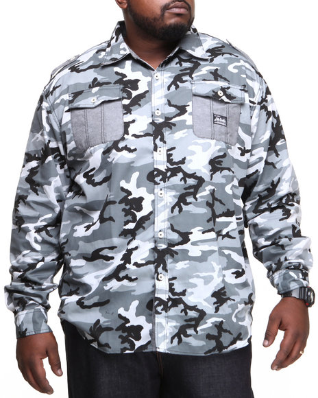 Akademiks - Men Black Alpha All Over Camo Roll Up Botton Down Shirt (B&T)
