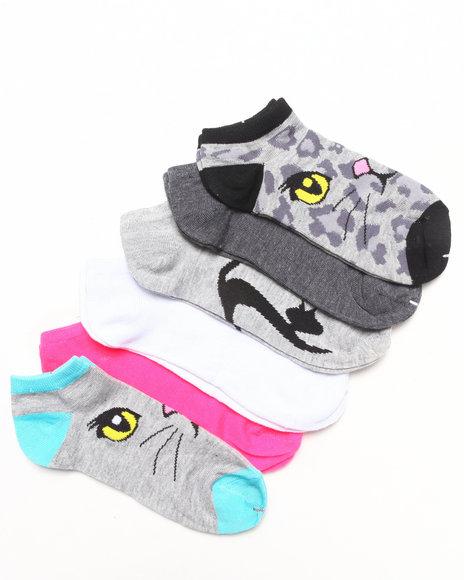 Rampage Kitty Face 6Pk Low Socks Grey 9-11