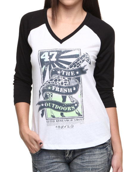 Lrg - Women White Raglan Fresh Tee