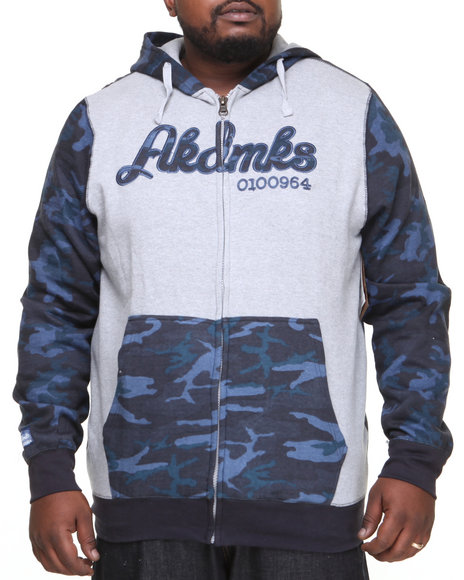 Akademiks - Men Navy Stealth All Over Fleece Zip Hoody (B & T)