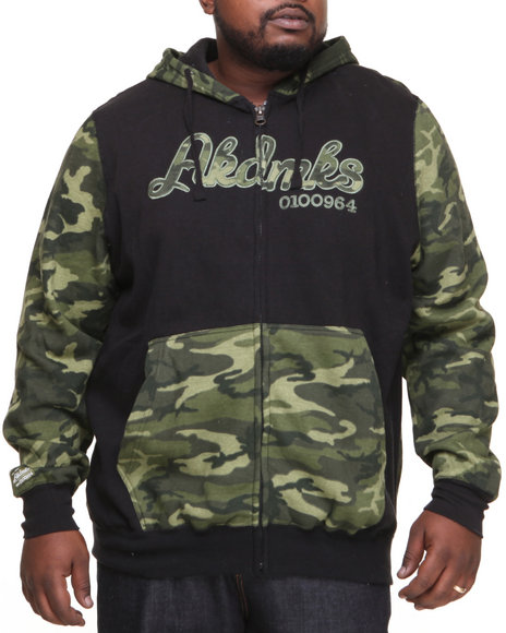 Akademiks - Men Olive Stealth All Over Fleece Zip Hoody (B & T)