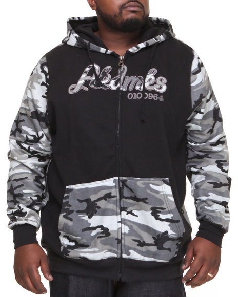 Akademiks - Men Black Stealth All Over Fleece Zip Hoody (B & T)