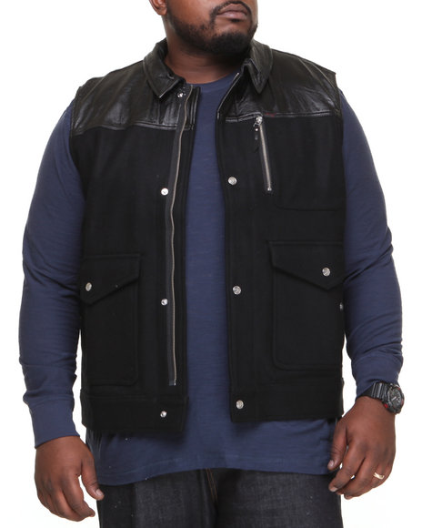 Lrg - Men Black 47 Legacy Leather / Wool Vest (B&T)