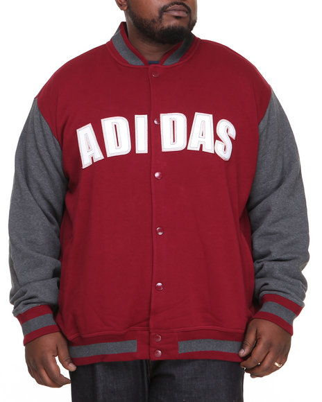 Adidas - Men Maroon Fleece Varsity Jacket