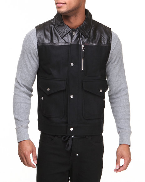 Lrg - Men Black 47 Legacy Leather / Wool Vest