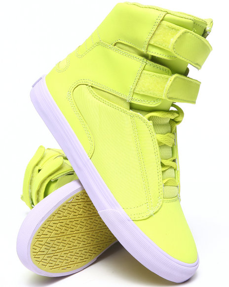 Supra Yellow Society Fluorescent Leather Sneakers