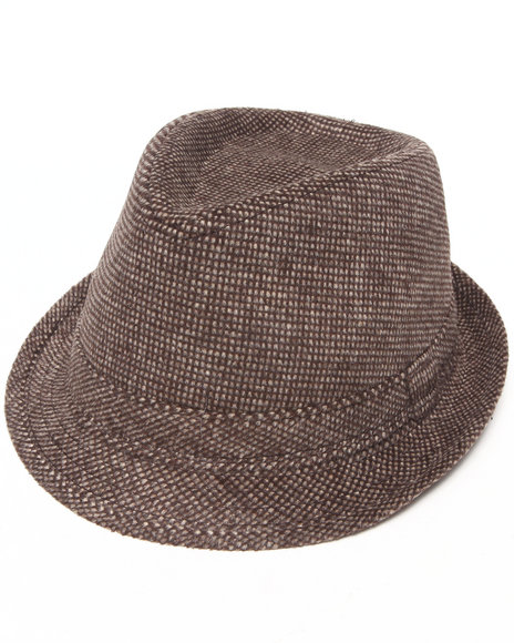 Drj Accessories Shoppe - Men Brown Fedora W/Tonal Check Brush