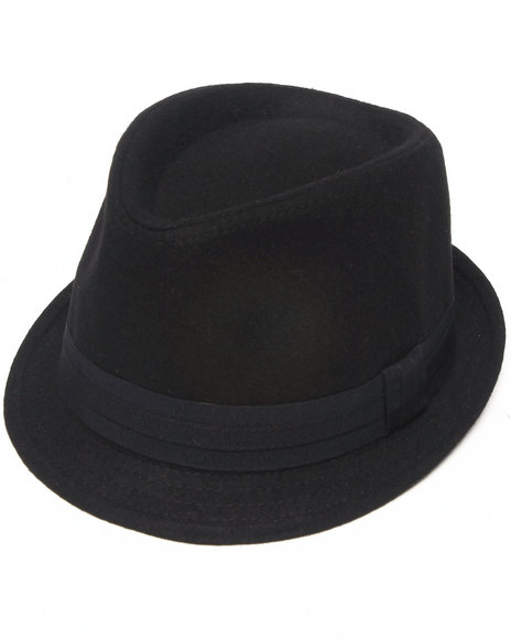 Drj Accessories Shoppe - Men Black Low Profile Solid Fedora W/Band